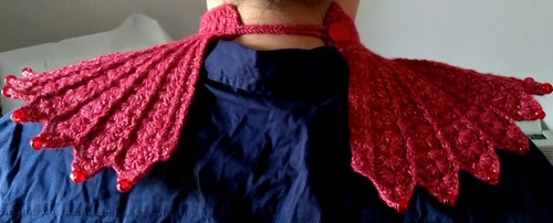 Crochet steampunk space neckpiece back